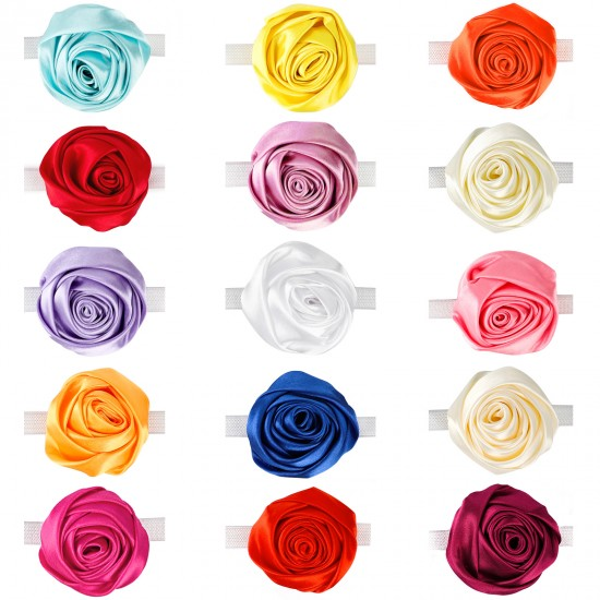 Cat Collar Flowers, Segarty 15 PCS Pet Flower Collars, Adjustable Elastic Dog Collar Rose Accessory for Female Girl Dogs Cats Valentines Wedding Costumes Attachment Collar Charms Grooming Bows Gifts