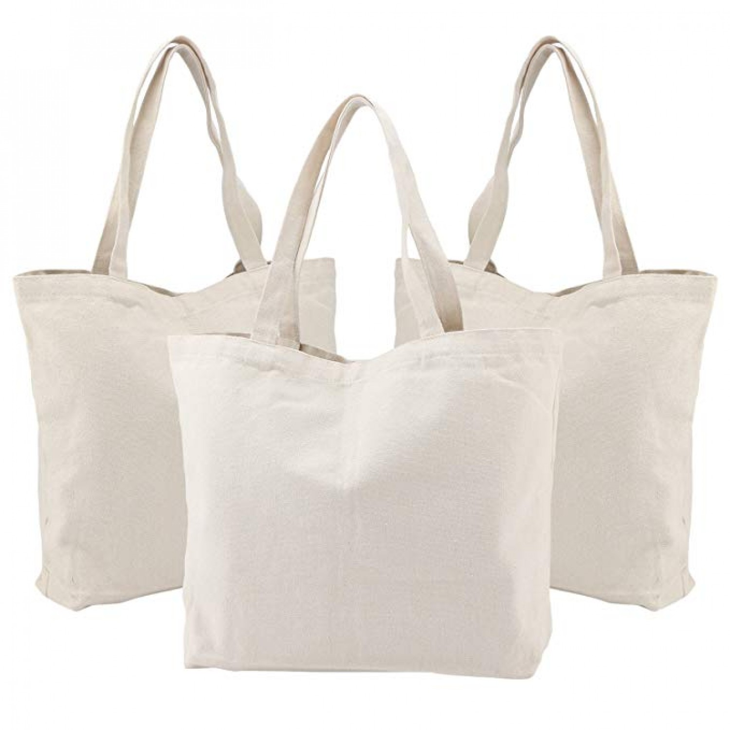 e4a6cb694306 Canvas Shopping Bags, Segarty 3PCS Natural Large Canvas Tote Bags ...
