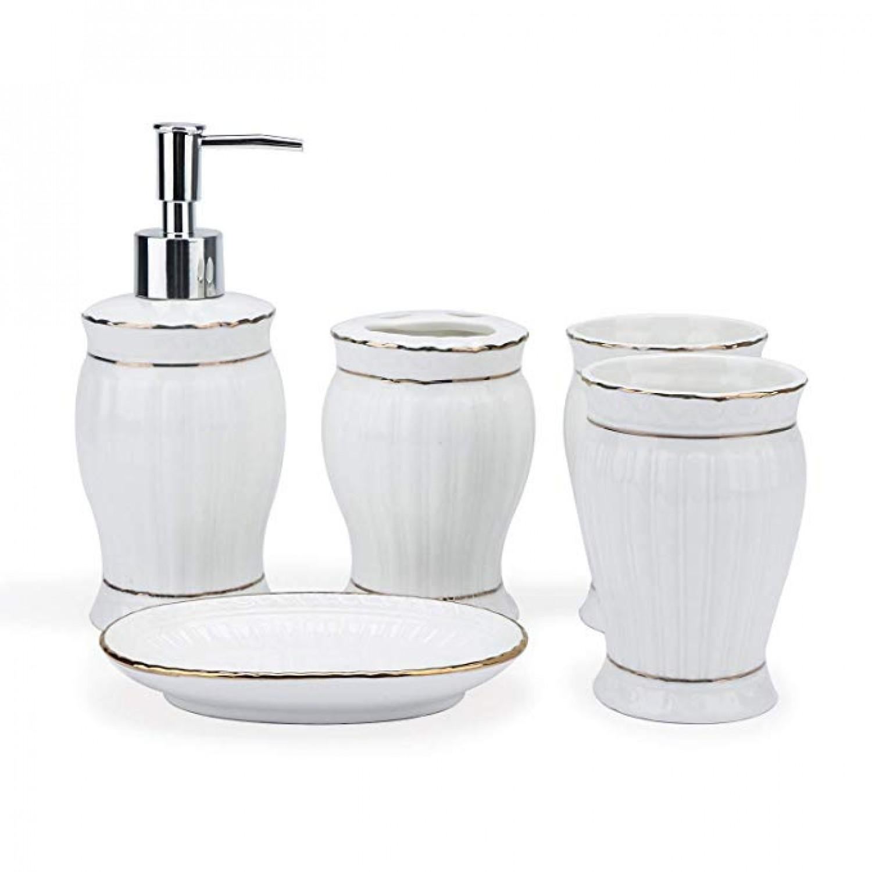 Segarty Bathroom Accessories Set 5pcs White Ceramic Soap Dispenser Toothbrush Holder Dish Tumbler Bath Organizer